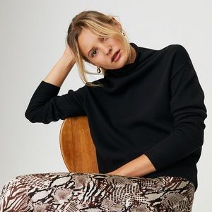 Aritzia Wilfred Cyprie Sweater Black Merino Wool